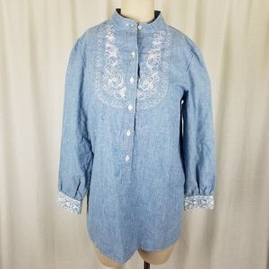 Talbots Chambray Lightweight Embroidered Tunic Top
